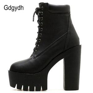 Image 3 - Gdgydh 2020 새로운 여성 발목 부츠 레이싱 부드러운 가죽 라운드 발가락 플랫폼 여성 짧은 부츠 블랙 화이트 고딕 두꺼운 발 뒤꿈치 신발