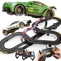 Electric race tracking toys remote control drift racing autorama circuit voiture railway diy car track train suit toy for boy