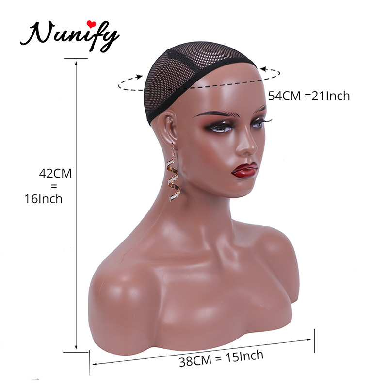 Top SaleNunify Skin-Mannequin-Head Hat Glasses Display-Stand Shoulders Wig Black with Two-Colors