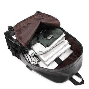 Image 3 - 革バックパックティーンエイジャースクールバッグ男性のラップトップバックパック少年少女スクールバックパックショルダーバッグ Mochila