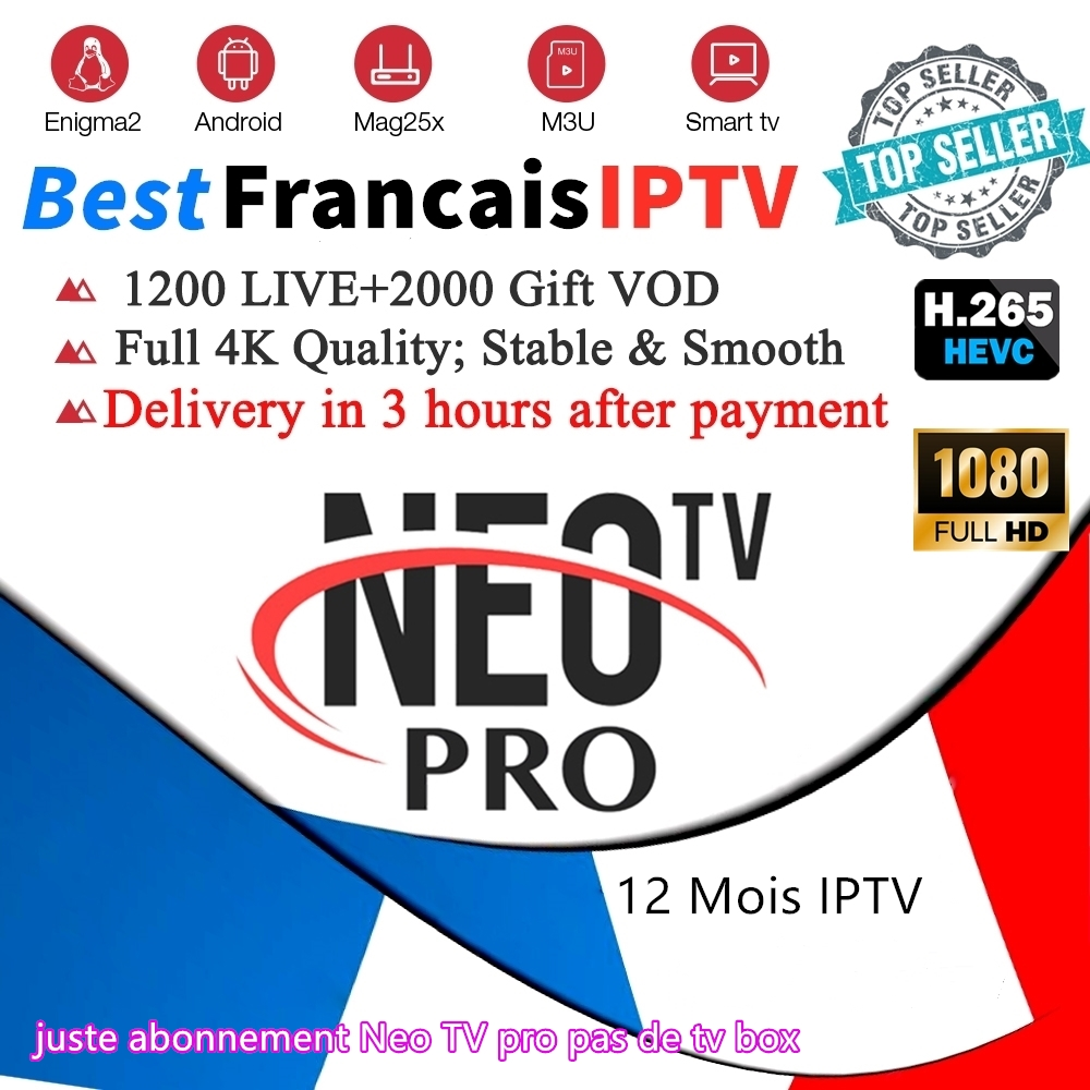 NeoTV French IPTV Subscription M3u 1300 Live VOD Iptv France Belgium Spain UK USA Morocco Arabic Iptv Tv Smart Tv Box STB Emu