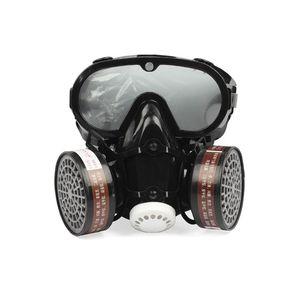 Image 2 - 2in1 الصناعية الغبار قناع مكافحة الغبار مكافحة السموم حملق عيون الأنف الفم حماية التنفس قناع واقي من الغاز السلامة الكيميائية أقنعة