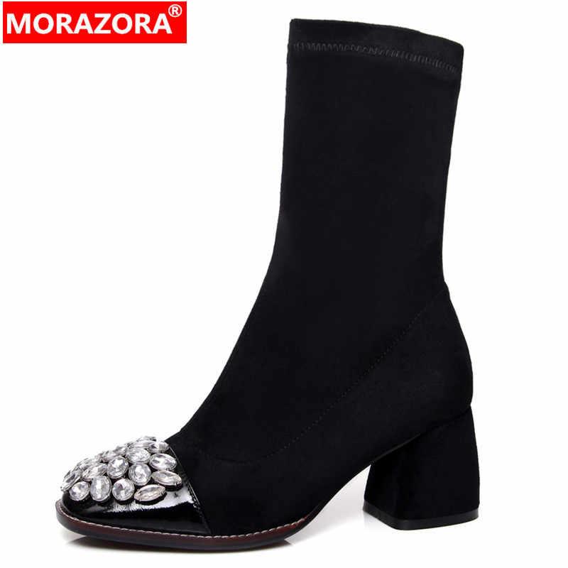 MORAZORA Plus rozmiar 34-43 nowe buty z prawdziwej skóry sztuczny zamsz rozciągliwe buty damskie rhinestone grube szpilki buty buty