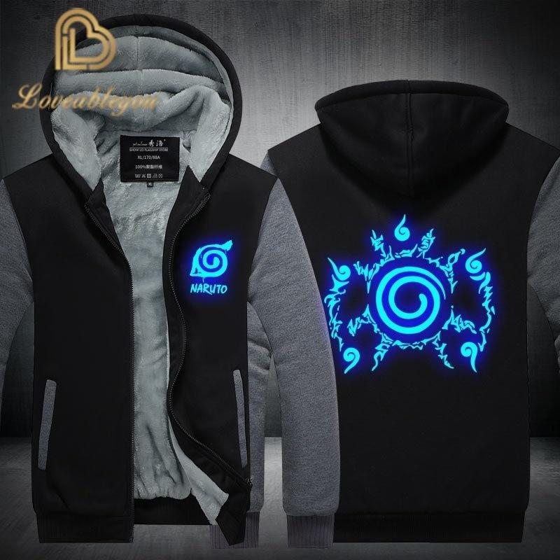 2019 New Naruto Hoodies Uchiha Syaringan Sweatshirts Hooded Men Fashion Hokage Ninjia Cartoon Printed Jackets Thick Coats S-5XL