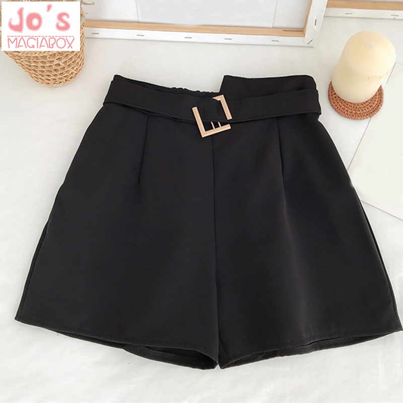 Summer Solid Loose Sweet Women Korean Shorts Casual Sashes Female Shorts Empire Ladies Vintage Shorts