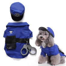 Pet Cat Dog Police Uniform With Hat Halloween Holiday Party Pet Clothes For Small Dog Coat Christmas Policeman Puppy Costume D35 juqi christmas coat hat for pet dog red white black size l