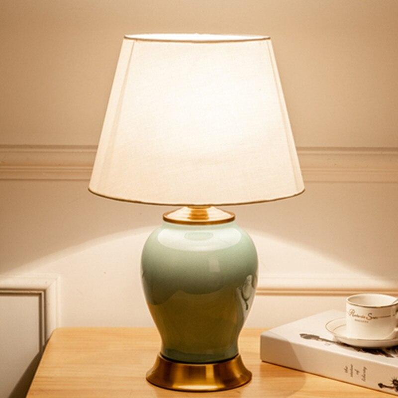 Настольная лампа, фарфоровая прикроватная лампа, китайская настольная лампа для спальни, ночники, лампа для кровати, деко, для дома, mariage, дем...