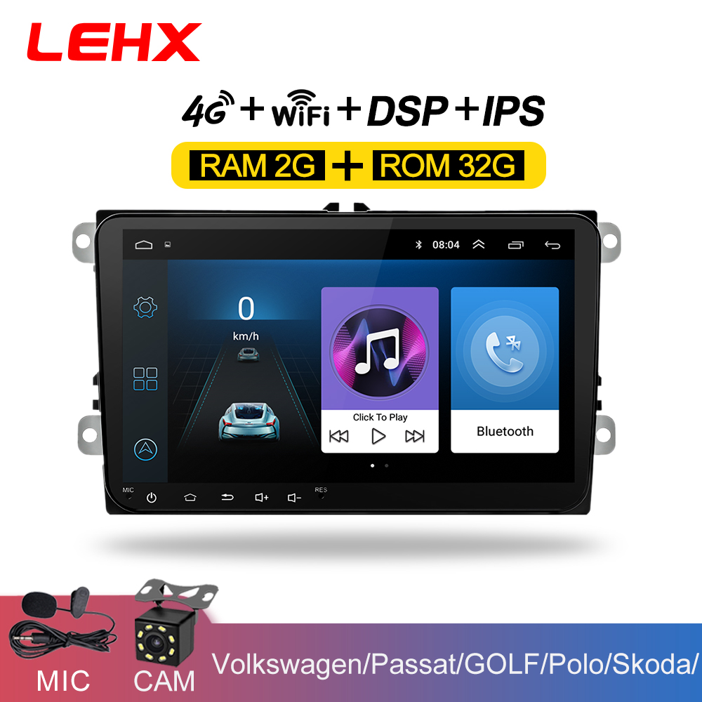 LEHX 9 inch Car Android 8.1 Car radio GPS Auto radio 2 Din <font><b>USB</b></font> for <font><b>VW</b></font> Skoda Octavia <font><b>golf</b></font> 5 6 touran passat B6 jetta polo tiguan image