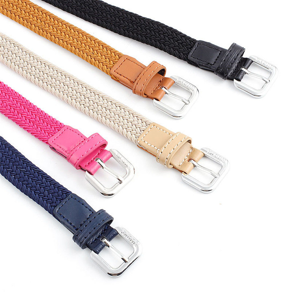 Belts 5 Colors Fashion Thin Weave Belt Female Red Brown Black White Yellow Waist Belts For Women Men Dress Strap Cinto Feminino