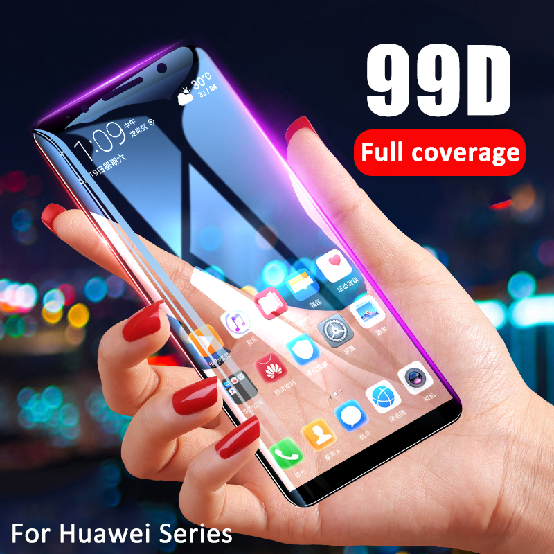 99D Full Cover Screen Protector For Huawei Y6 Y5 Y7 Pro Y9 Prime 2019 Tempered Glass For Huawei P smart 2019 Glass Protective HDPhone Screen Protectors   -