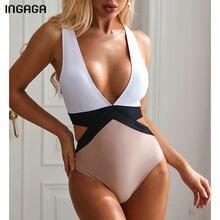 INGAGA-bañador de retales fundido para mujer, traje de baño Sexy con Espalda descubierta, Monokini recortado, 2021