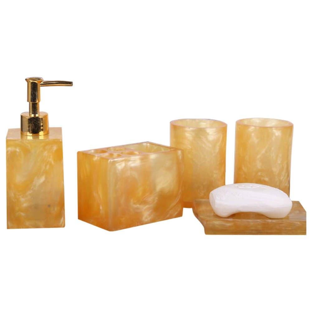 Distributeur de Lotion en résine 5 pièces | Porte-brosse à dents + porte-savon + 2 gobelets, ensemble d'accessoires de bain