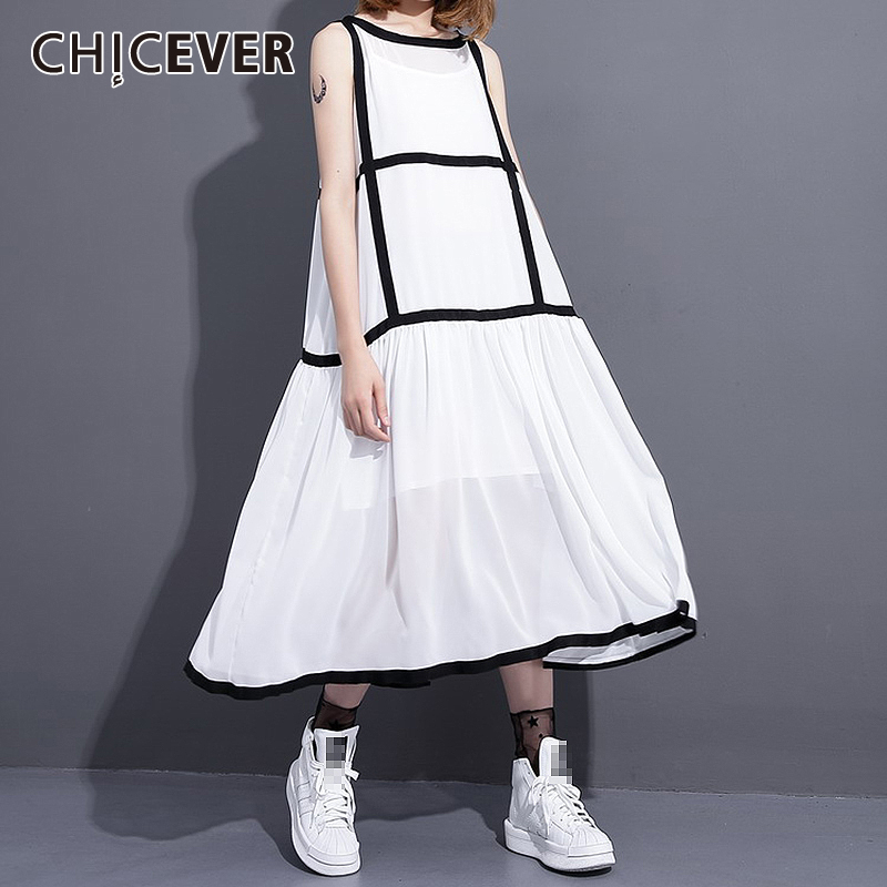 CHICEVER Two Pieces Set Female Sleeveless Loose Dress With Spaghetti Strap Women's Suits Spring Summer 2020 Fashion Clothes New