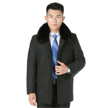 Mens Tweed Coat Early Winter Fur Collar Wool Blend Overcoat Man Single Breasted Warm Thermal Oufits Woollen Boucle Coats Chinese