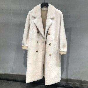 Image 1 - Real fur coat women plus size 2019 fashion leopard print genuine Merino sheepskin leather jacket double breasted long coat femal