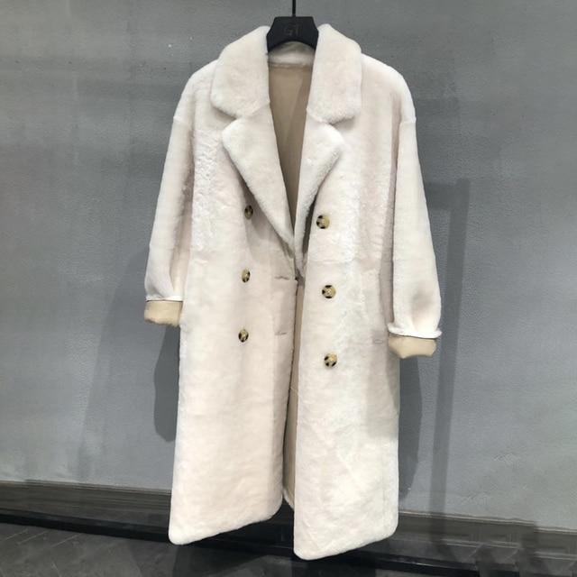Real fur coat women plus size 2019 fashion leopard print genuine Merino sheepskin leather jacket double breasted long coat femal