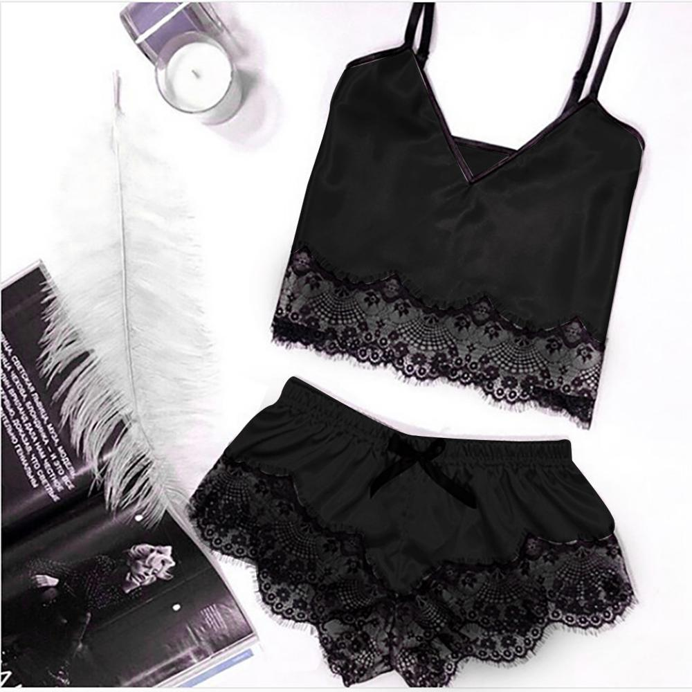 Women's Sleepwear Sexy Satin Pajama Set Lace V-Neck Pyjamas Sleeveless Cute Cami Top and Shorts Nightgown Summer Clothes S04
