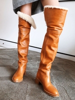 2019 Winter Boots Versatile Over The Knee Thicken Suede Lining Warm Women Boots Medium Chunky Heel Slip On Round Toe Shoes