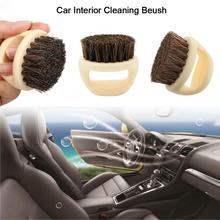 1PC szczotka do czyszczenia samochodu dzik wąsy szczotka Palm miękki okrągły drewniany uchwyt szczotka do czyszczenia samochodu pędzel Auto produkt akcesoria samochodowe tanie tanio JOSHNESE CN (pochodzenie) Plastic Support