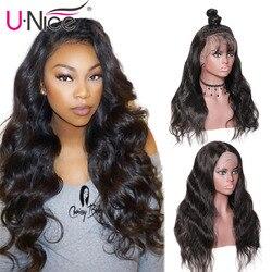 Unice Cheveux Perruques Vague de Corps Full Lace Perruques de Cheveux Humains Avec Bébé Cheveux Pré Pincées Brésilienne Full Lace Perruques Pour noir Femmes