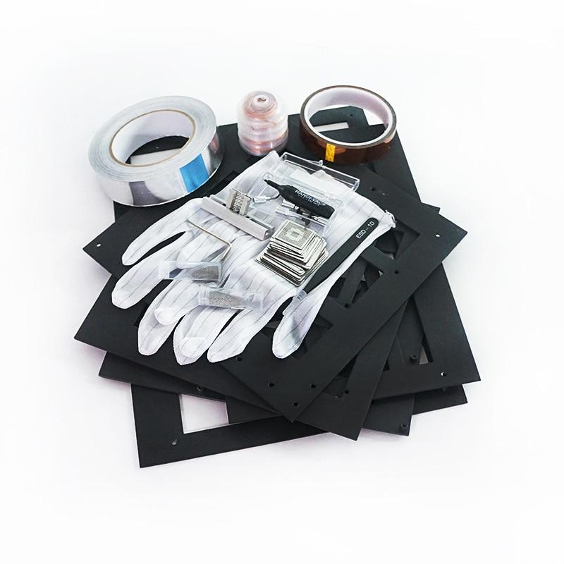 BGA Reball Reballing Net Universal Stencils Template Set Kit Silver Steel Welding Fluxes with stand