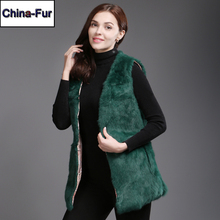 New Style Winter Women Real Rabbit Fur Vests Casual Slim Real Genuine Rabbit Fur Gilets Full Pelt Warm Real Rabbit Fur Waiscoats cheap doakxol Double-faced Fur V-Neck Covered Button REGULAR Sleeveless STANDARD Real Fur China fur-4150 Solid Long 100 real natural rabbit fur
