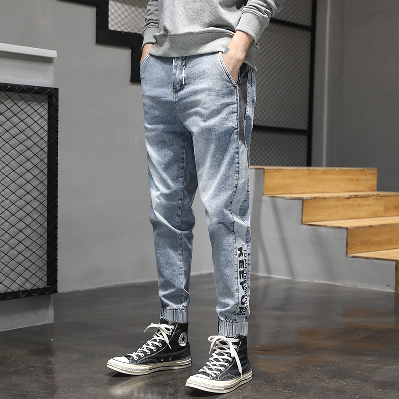 KSTUN Relaxed Tapered Jeans Men Side Patched Letters Design Dark Blue Loose Fit  Elastic Waist Drawstring Casual Pants Plus Size 20