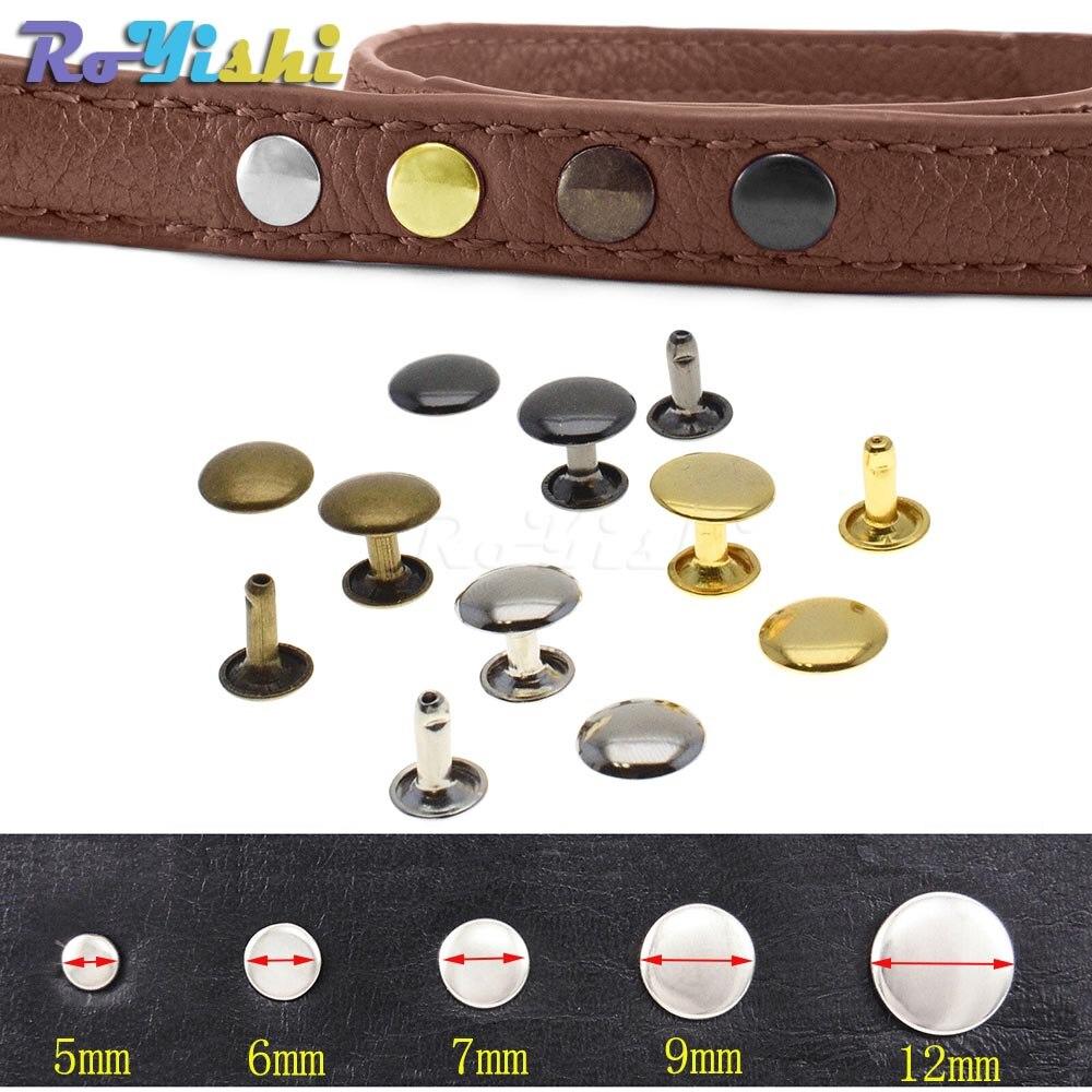 100pcs/set Metall Doppel Cap Nieten Nieten Stud Kollision Nagel Spike Leder Handwerk Reparatur 4 Farben