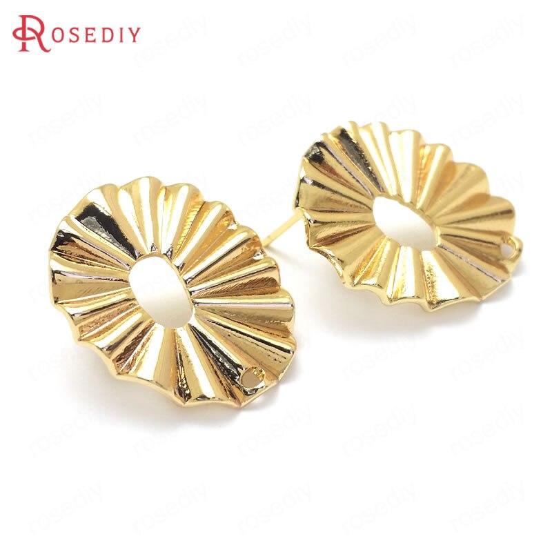 6PCS 16x8MM 24K Gold Color Brass Wave Oval Shape Stud Earrings Findings 36050