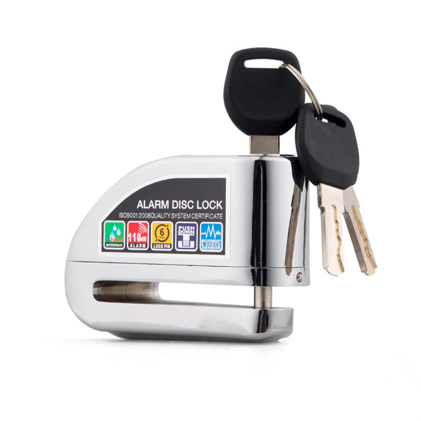 Motorcycle Disc Lock - Anti Theft Disc Lock Motorcycle Alarm With 110db Alarm Sound, Reminder Cable, 3 Keys, Storage Bag