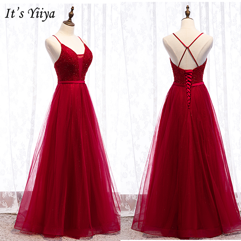 It's Yiiya Evening Dress 2019 Summer Backless Crystal A-Line Dresses Burgundy Spaghetti Strap Long Party Formal Dresses E975