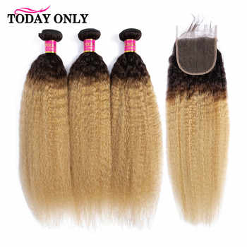 TODAY ONLY Blonde 3 Bundles With Closure Kinky Straight Hair Bundles With Closure Human Hair Bundles With Closure Remy 1b/27 - DISCOUNT ITEM  55% OFF All Category