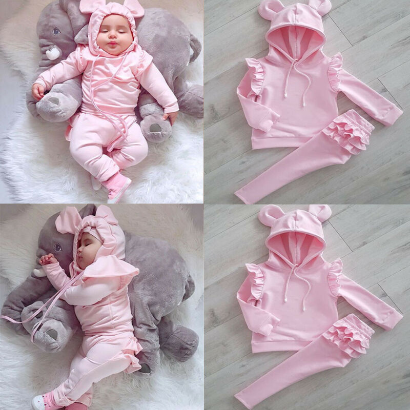 Goocheer 2Pcs Baby Summer Clothing Sweets Baby Girl Newborn Outfits Ruffled Clothe 3D Bear Ears Hoodies Shirt Pants Trousers Set