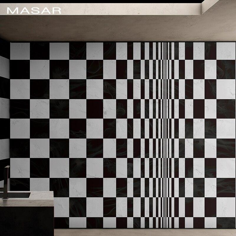 MASAR Original Visual Black And White Grid Mural Living Room Sofa Background Wall Paper Waterproof Wallpaper Inverse