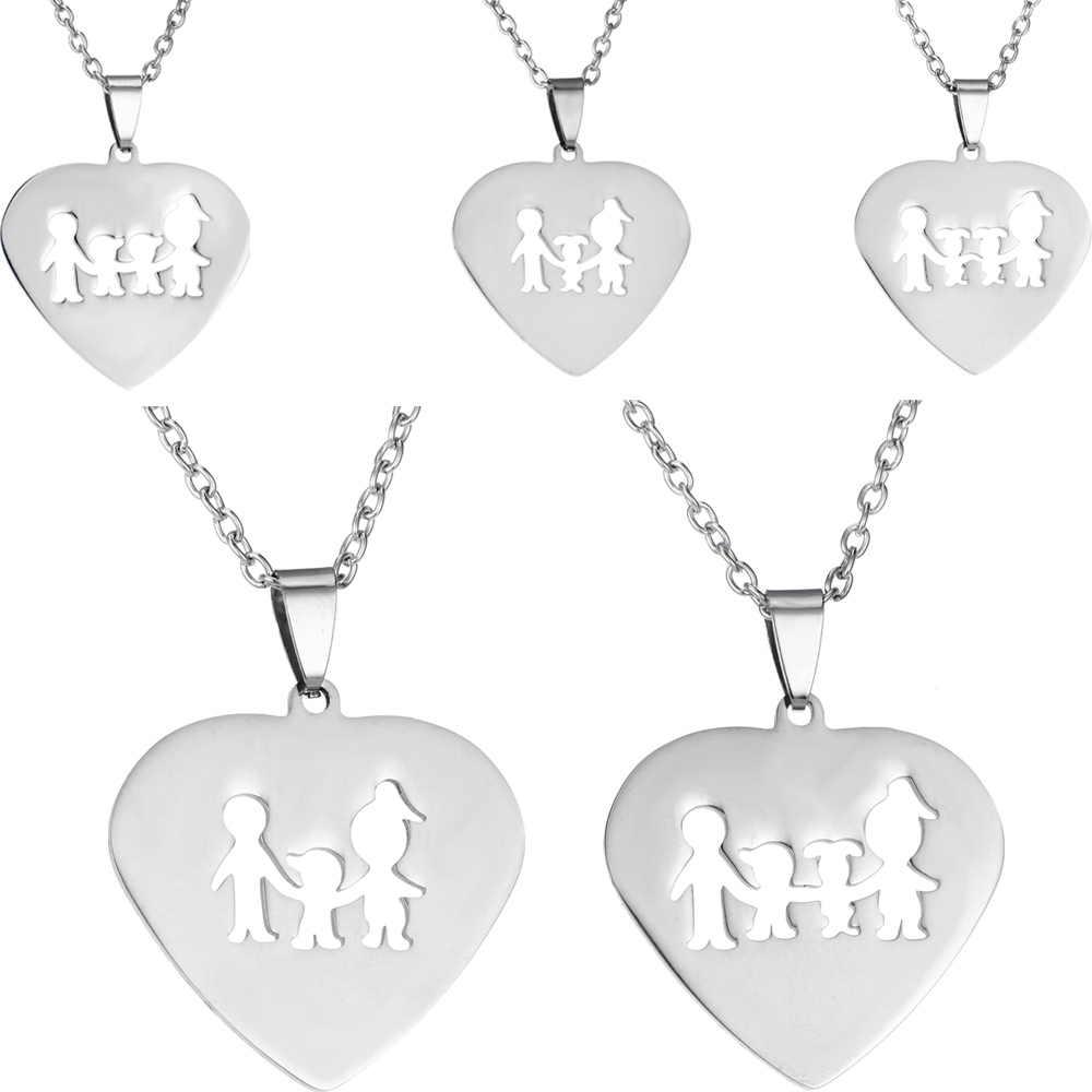 Collar familia amor mamá hija papá hijo corazón colgante fiesta de cumpleaños mujeres hombres padre/día de la Madre Regalos padres niños caliente