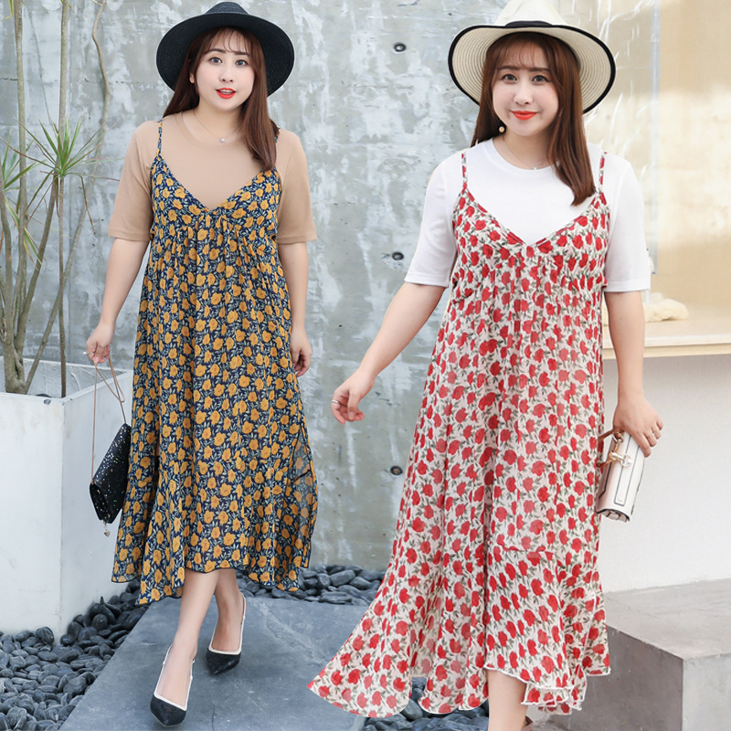 Manufacturers Direct Supply A Generation Of Fat Large GIRL'S Plus-sized Large Size Dress Sweet Two-Piece Set Full Body Dress W00