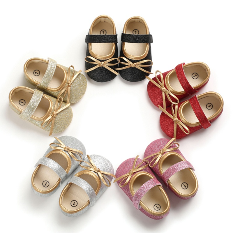Baby Girl Cute Bow Anti-Slip Casual Sneakers Toddler Soft Soled Princess Walking Shoes