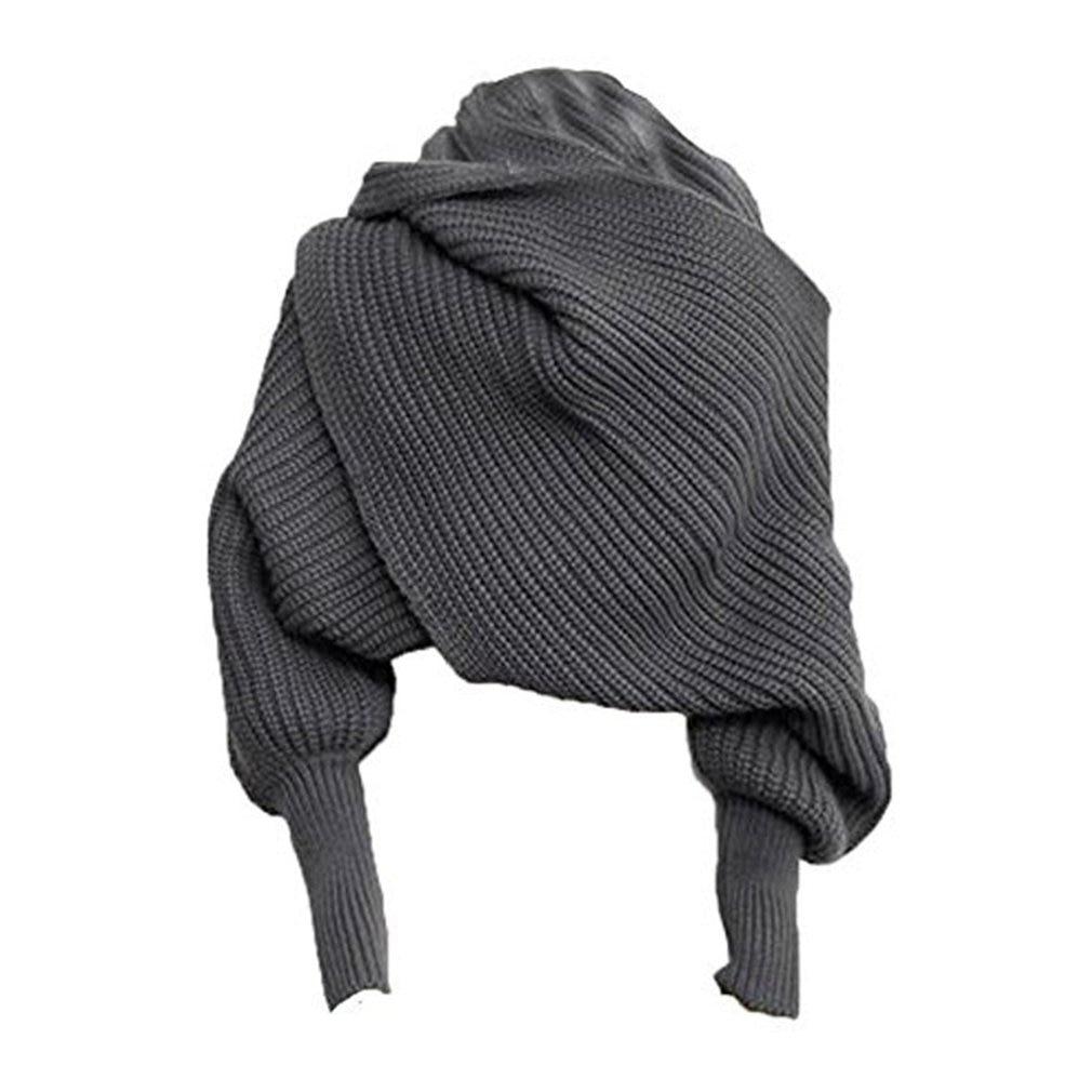 Keeping Warm Knit Wool Long Sleeve Wrap Solid Color Shawl Wrap Printe Solid Color Shawls Scarves Women Plain Women Scarf Winter