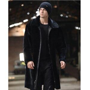 Image 5 - SANI dwie strony nosić długie futro Shearling prawdziwe kożuch mężczyźni zimowe grube ciepłe futro zagęścić naturalne futro z owczej skóry