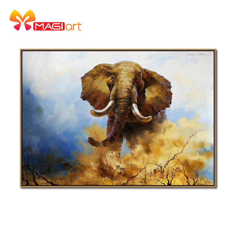 Kruissteek kits Borduren handwerken sets 11CT water oplosbare canvas patronen 14CT Azië Animal Golden Elephant-NCMA004