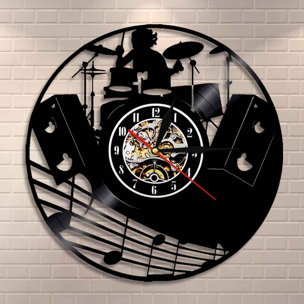 Drum Kit Vinyl Record Wall Clock Music Band Drums Musical Instruments Rock Drummer Wall Clock Unique Gift For Rock Music Lover image