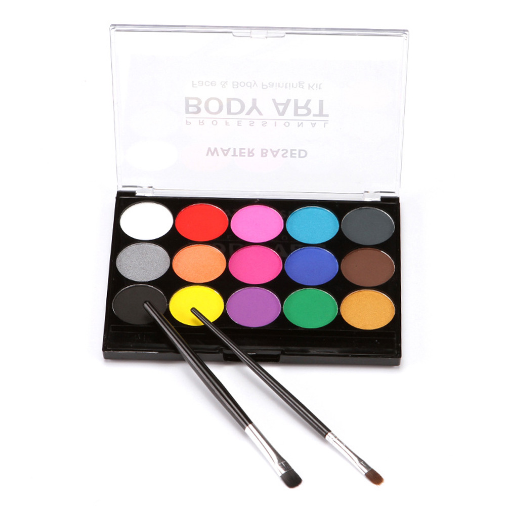 Facial paint kit body nontoxic Halloween party DIY hand painted 15 colors with two brushes