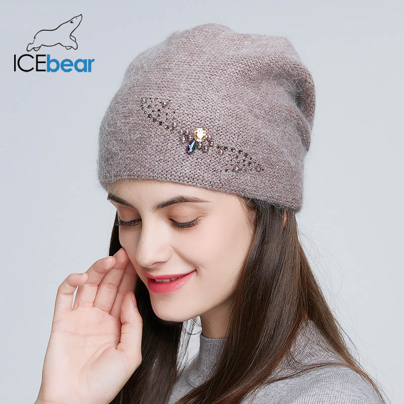 ICEbear Winter Knitted Hats For Women Russia Casual Beanies Angora Rabbit Fur Hair Thick Warm Hat For Female E-MX19107