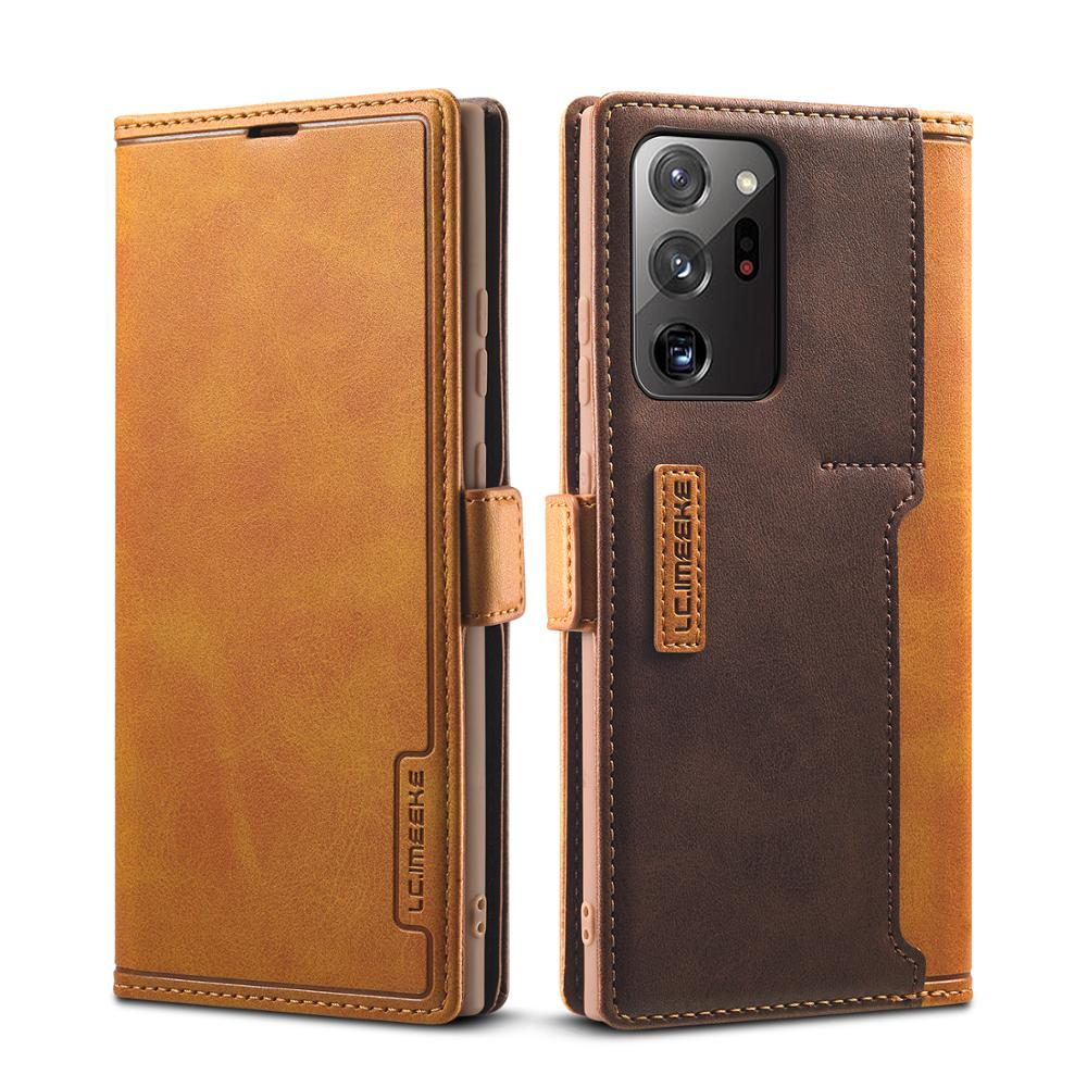 For Samsung Note 20 Ultra Case Folio Vintage Leather Wallet Magnetic TPU Back Cover Case For Samsung Galaxy Note 20 S20 S21 A52