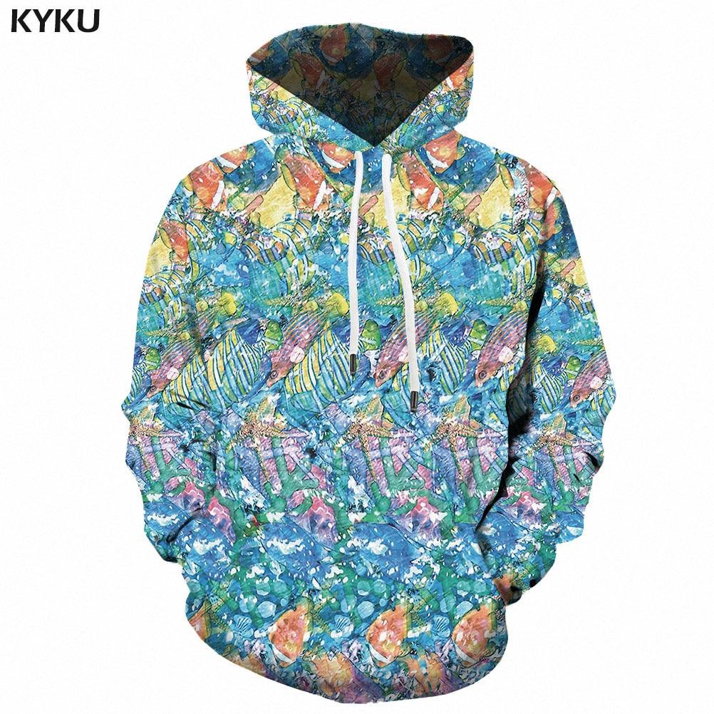 3d Hoodies Anime Sweatshirts Men Psychedelic Hooded Casual Funny 3d Printed Ocean Sweatshirt Printed Fish Hoodie Print