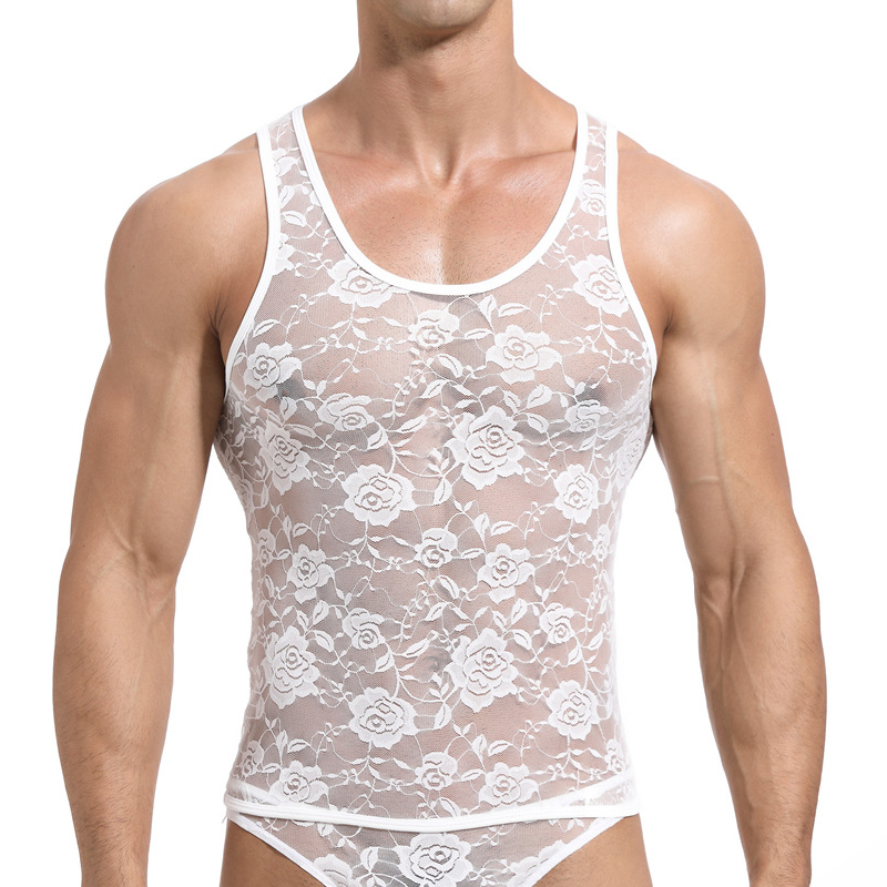 Sexy Lace Mens Tank Tops Transparent Mesh Singlet Shirts Gay Exotic Home Lounge Sleep Wear Undershirt Summer Vest(China)