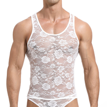 Sexy Lace Mens Tank Tops Transparent Mesh Singlet Shirts Gay Exotic Home