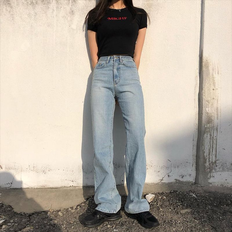 High Waist Jeans Woman 2019 Mom Denim Boyfriend Fashion Solid Wide Leg Casual Vintage Baggy Long Trousers Loose Pants Korean0123