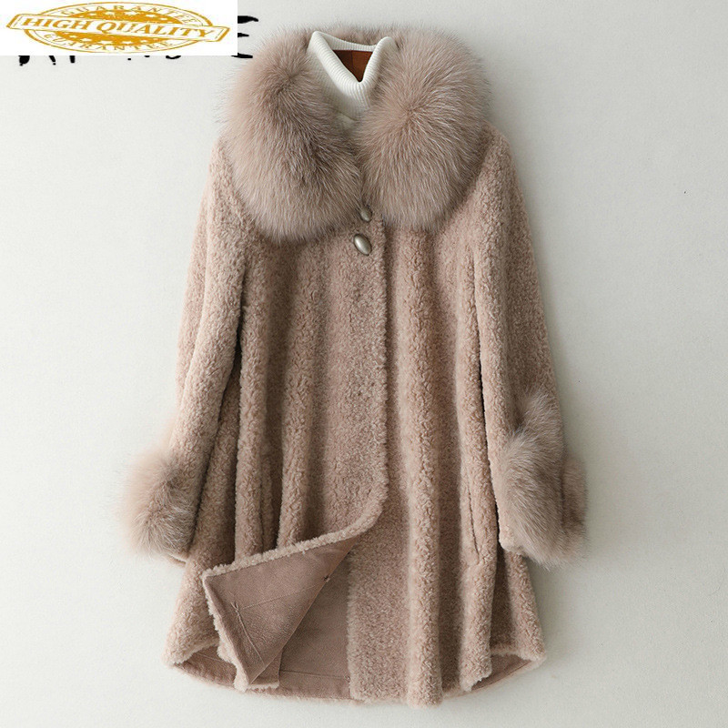 Real Fur Coat Women 100% Wool Jacket Women Clothes 2019 Fox Fur Collar Sheep Shearing Winter Coat Women HQ19-ZCFR19117C YY1852