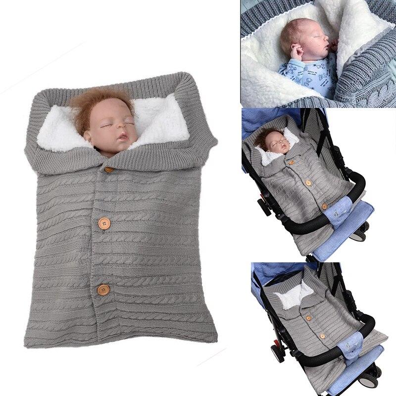 Baby Winter Sleeping Bags Infant Button Knit Swaddle Wrap Swaddling Stroller Wrap Toddler Blanket Newborn Envelope Sleeping Bags